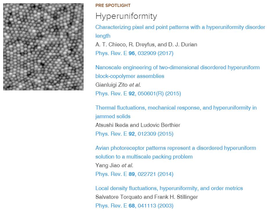 """""""Hyperuniformity"""" is highlighted in PRE Spotlight"""